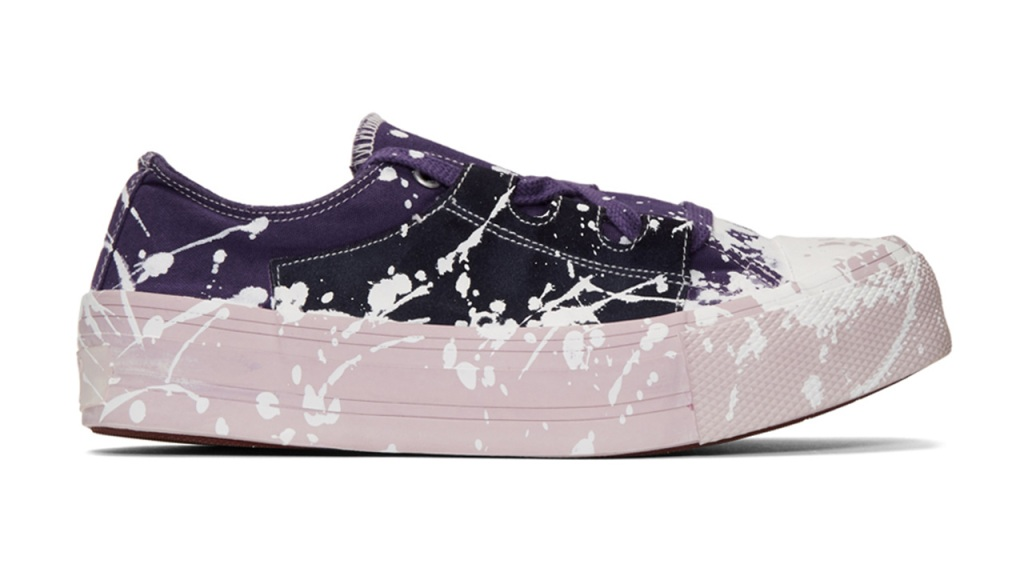 Needles Purple & Pink Paint Asymmetric Ghillie Sneakers / $455 USD